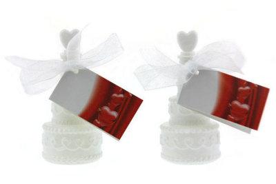 Huwelijksbedankje bellenblaas bruidstaart hartje