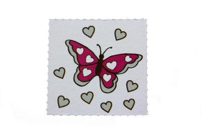Label vlinder Fuchsia