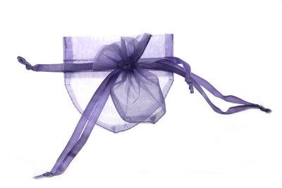 Organza zakje Hartvormig Lavendel