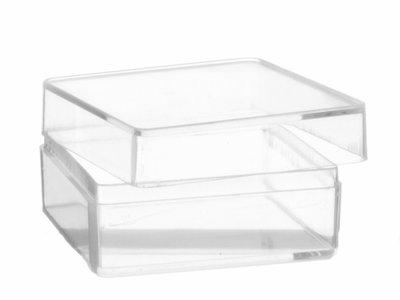 Transparante vierkant doosje hersluitbaar organza zakjes for Plastic doosjes