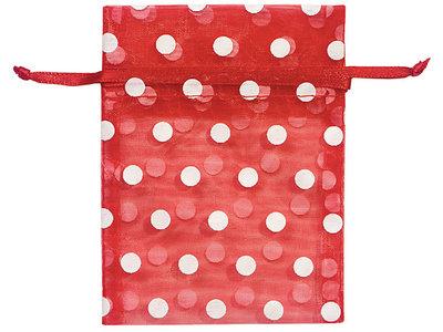 Organza zakjes rood met witte stippen