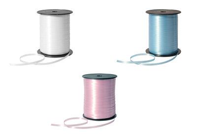 krullint 5 mm breed wit licht blauw roze