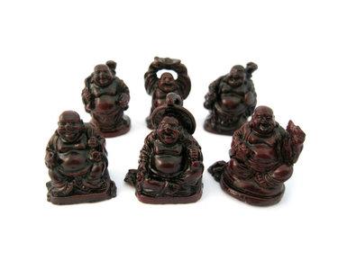 Hoofdfoto   VERPLAATSEN  VERWIJDEREN  6 Lachende boeddha rood 3 cm
