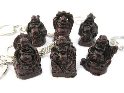 Sleutelhangers lachende boeddha rood 3 cm