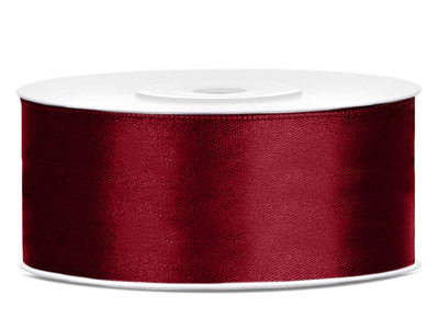 Bordeaux rood satijn lint 25 mm breed