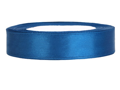 Blauw satijn lint 1.5 cm breed