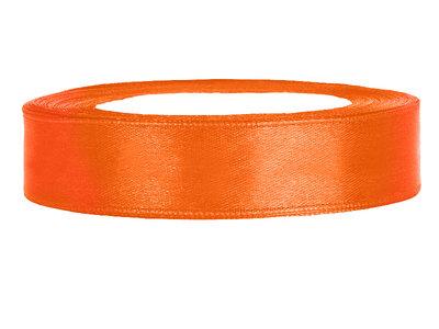 Oranje satijn lint 1.5 cm breed