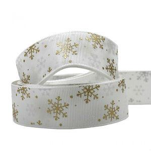 Kerstlint grosgrain wit ijskristal