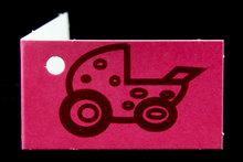 Kaartjes voor geboortebedankjes kinderwagen fuchsia roze